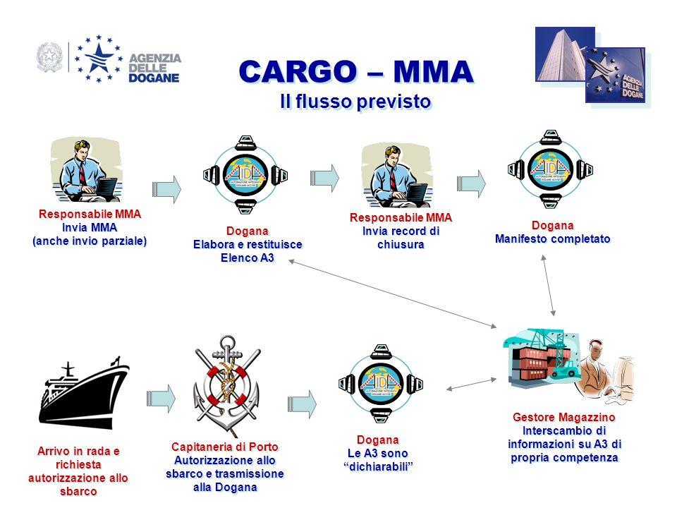 CARGO – MMA Il flusso previsto Responsabile MMA Responsabile MMA