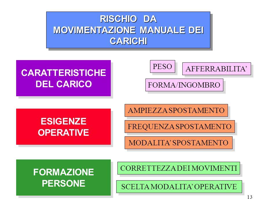 MOVIMENTAZIONE MANUALE DEI CARICHI CARATTERISTICHE DEL CARICO