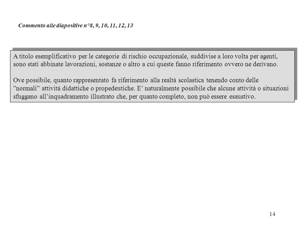 Commento alle diapositive n°8, 9, 10, 11, 12, 13