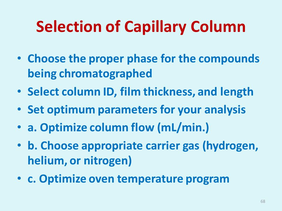 Selection of Capillary Column
