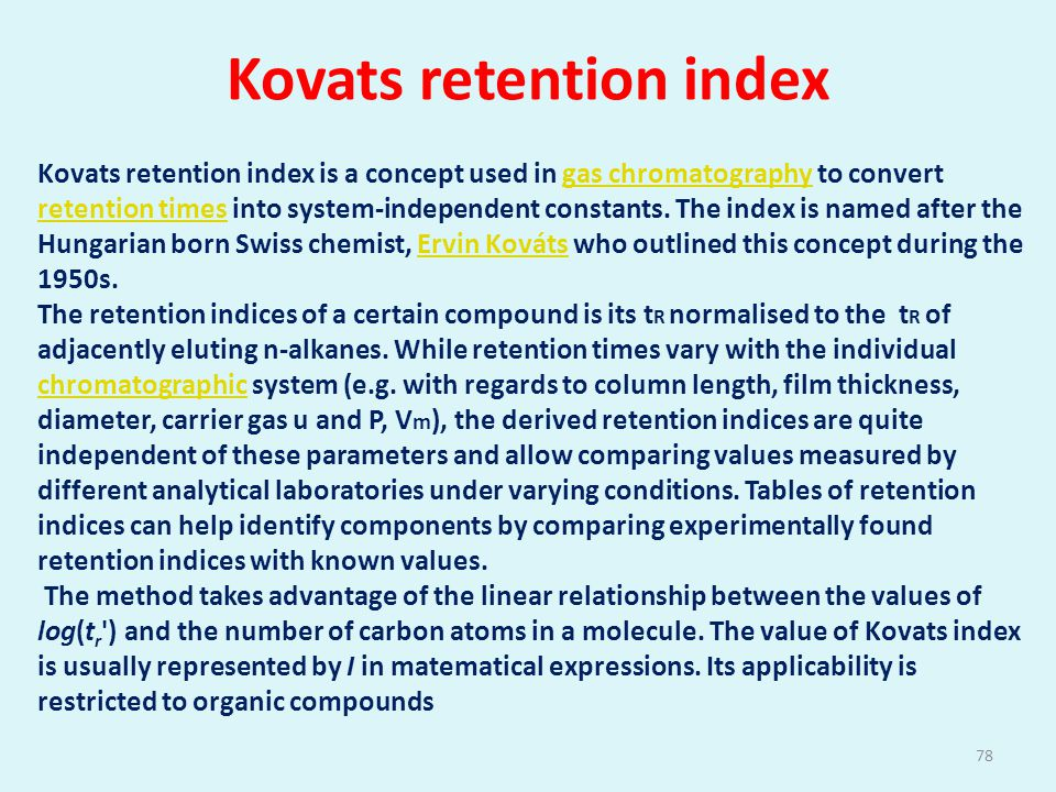 Kovats retention index