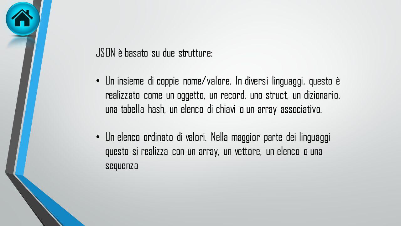 JSON è basato su due strutture:
