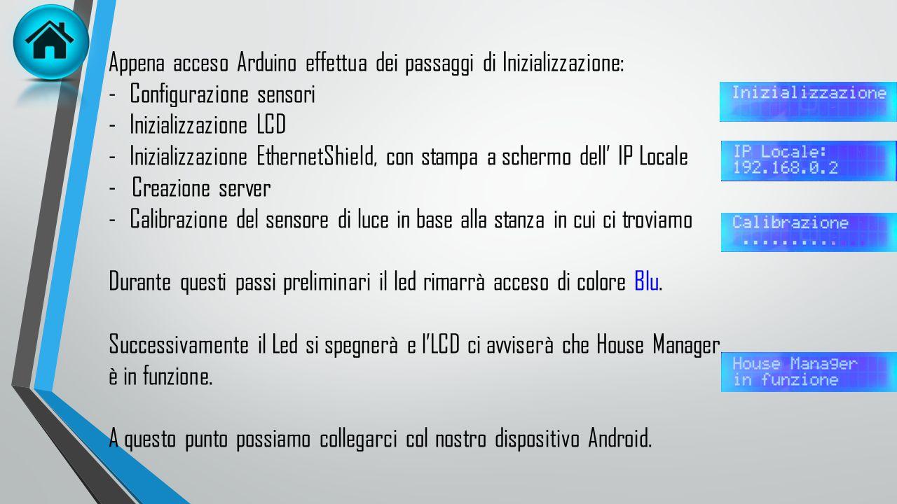 Appena acceso Arduino effettua dei passaggi di Inizializzazione: