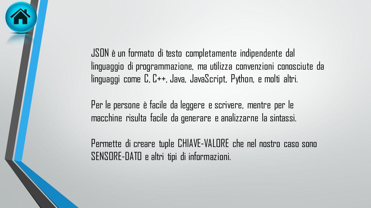 JSON è un formato di testo completamente indipendente dal linguaggio di programmazione, ma utilizza convenzioni conosciute da linguaggi come C, C++, Java, JavaScript, Python, e molti altri.