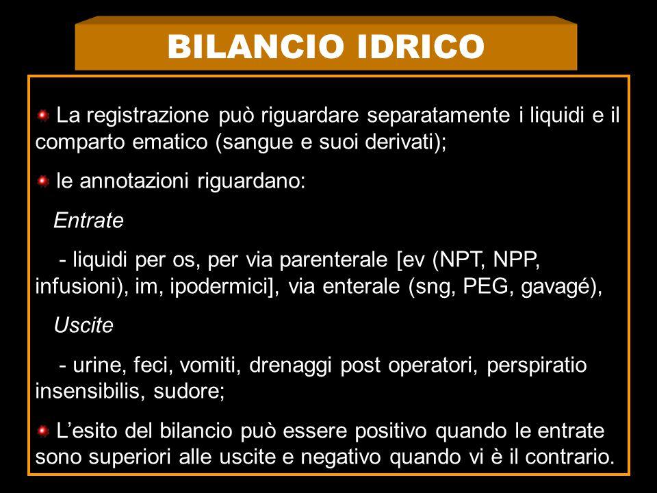 BILANCIO IDRICO La registrazione può riguardare separatamente i liquidi e il comparto ematico (sangue e suoi derivati);