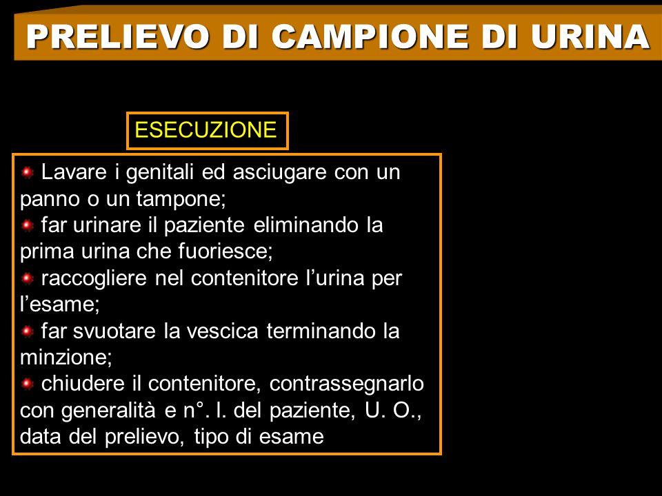 PRELIEVO DI CAMPIONE DI URINA