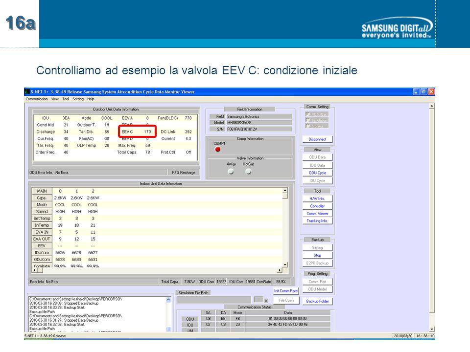 Controlliamo ad esempio la valvola EEV C: condizione iniziale