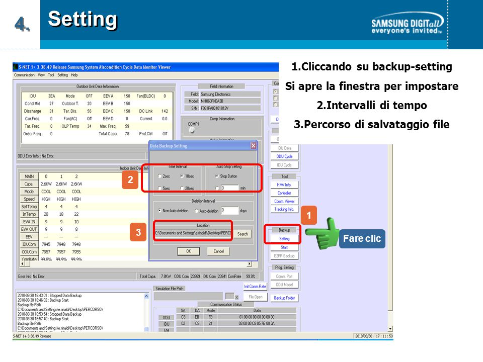 Setting 4. 1.Cliccando su backup-setting