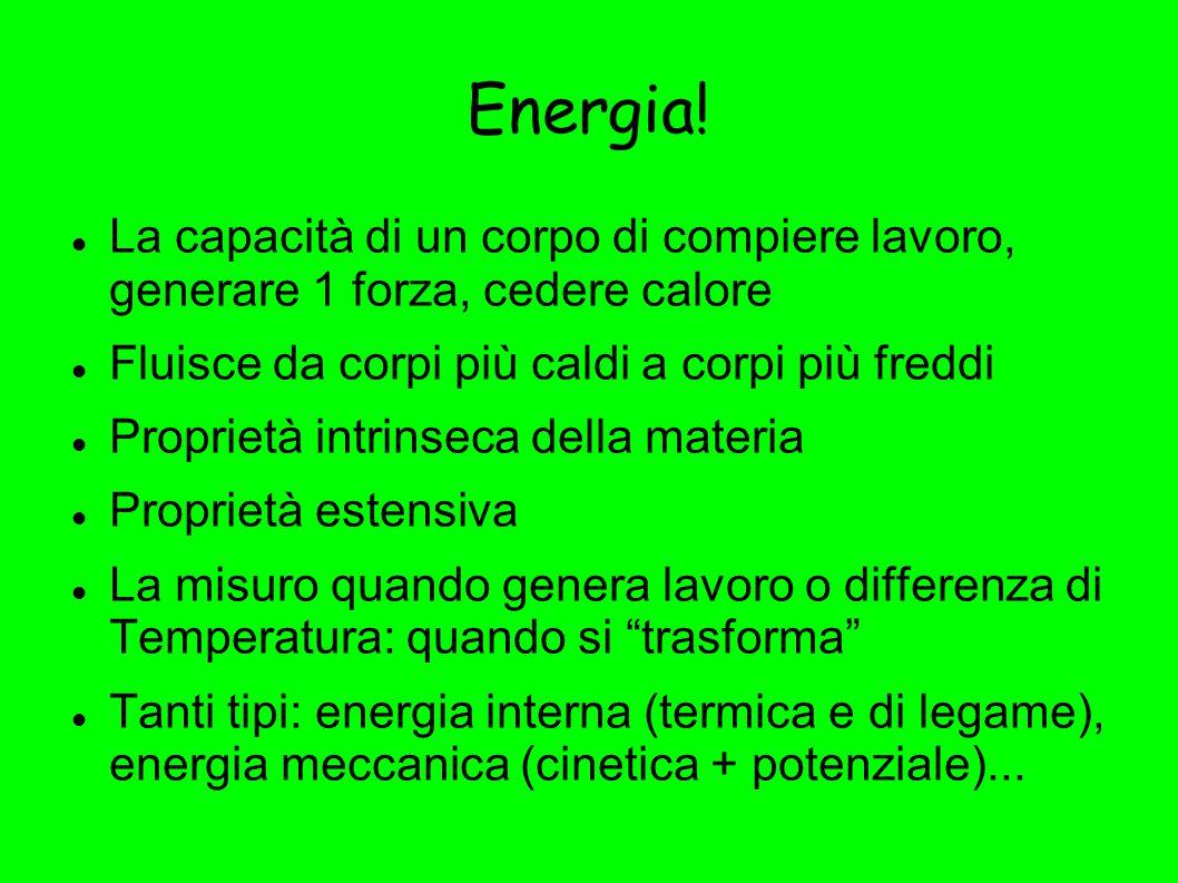 Energia! La capacità di un corpo di compiere lavoro, generare 1 forza, cedere calore. Fluisce da corpi più caldi a corpi più freddi.