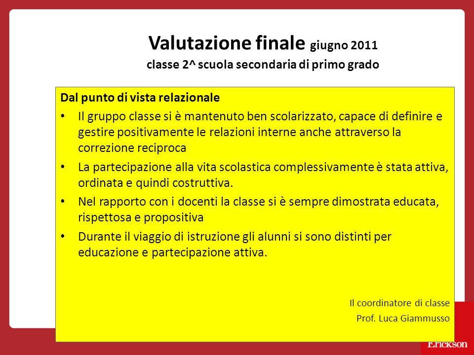 Valutazione finale giugno 2011 classe 2^ scuola secondaria di primo grado