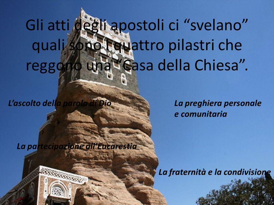 Gli atti degli apostoli ci svelano quali sono i quattro pilastri che reggono una Casa della Chiesa .