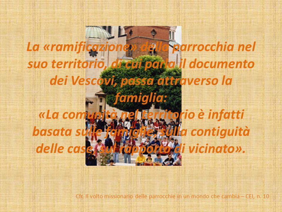 La «ramificazione» della parrocchia nel suo territorio, di cui parla il documento dei Vescovi, passa attraverso la famiglia: «La comunità nel territorio è infatti basata sulle famiglie, sulla contiguità delle case, sul rapporto di vicinato».