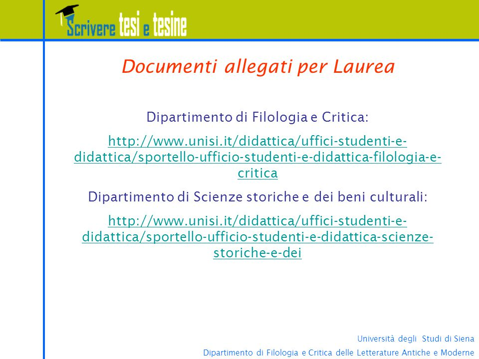 Documenti allegati per Laurea