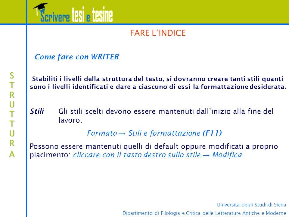 Formato → Stili e formattazione (F11)