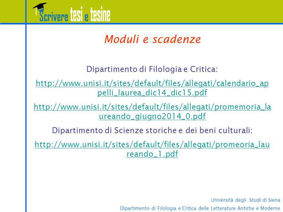 Moduli e scadenze Dipartimento di Filologia e Critica: