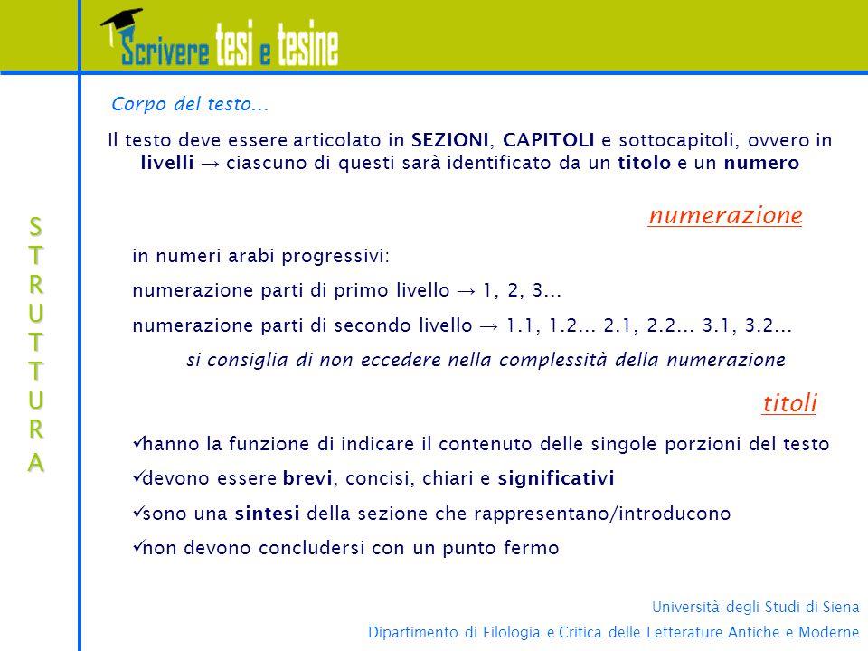 si consiglia di non eccedere nella complessità della numerazione