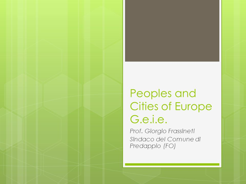 Peoples and Cities of Europe G.e.i.e.