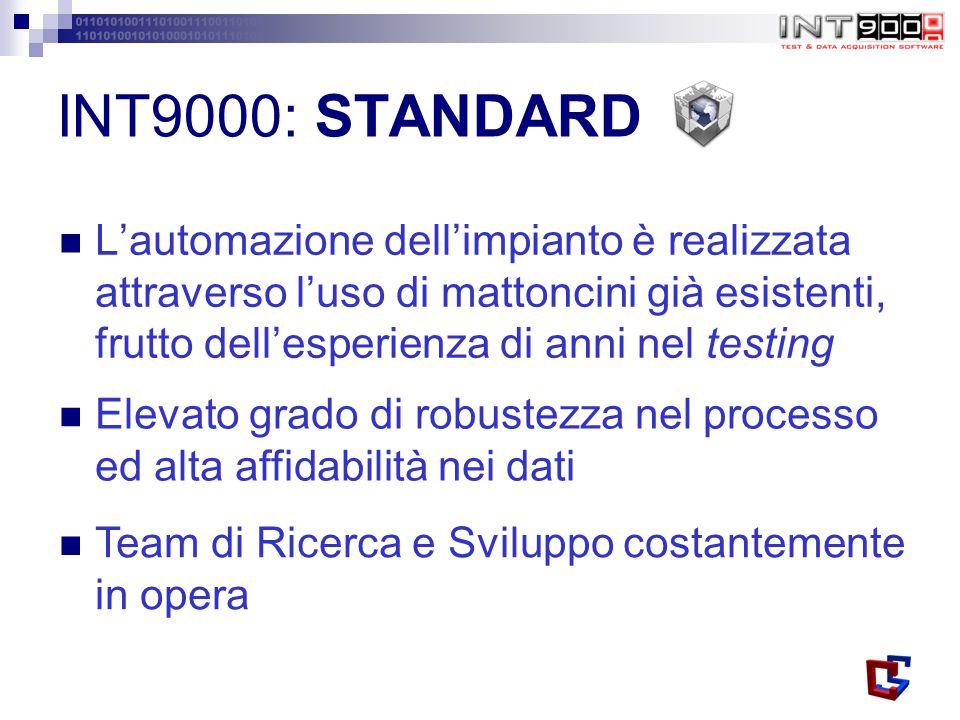 INT9000: STANDARD L'automazione dell'impianto è realizzata attraverso l'uso di mattoncini già esistenti, frutto dell'esperienza di anni nel testing.