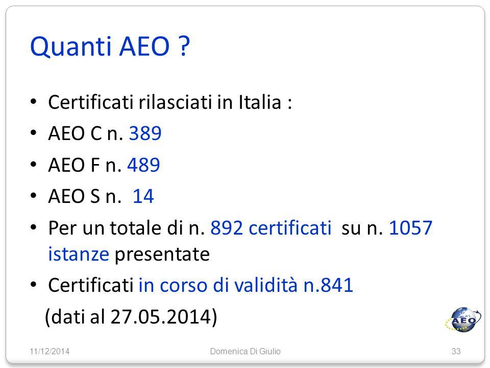 Quanti AEO Certificati rilasciati in Italia : AEO C n. 389