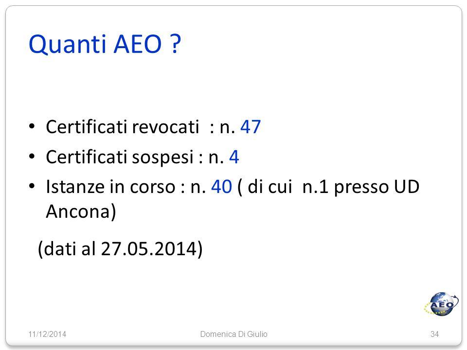Quanti AEO Certificati revocati : n. 47 Certificati sospesi : n. 4