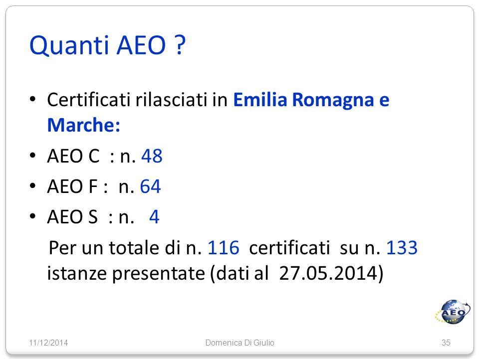 Quanti AEO Certificati rilasciati in Emilia Romagna e Marche:
