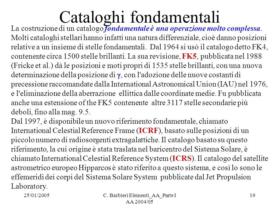 Cataloghi fondamentali