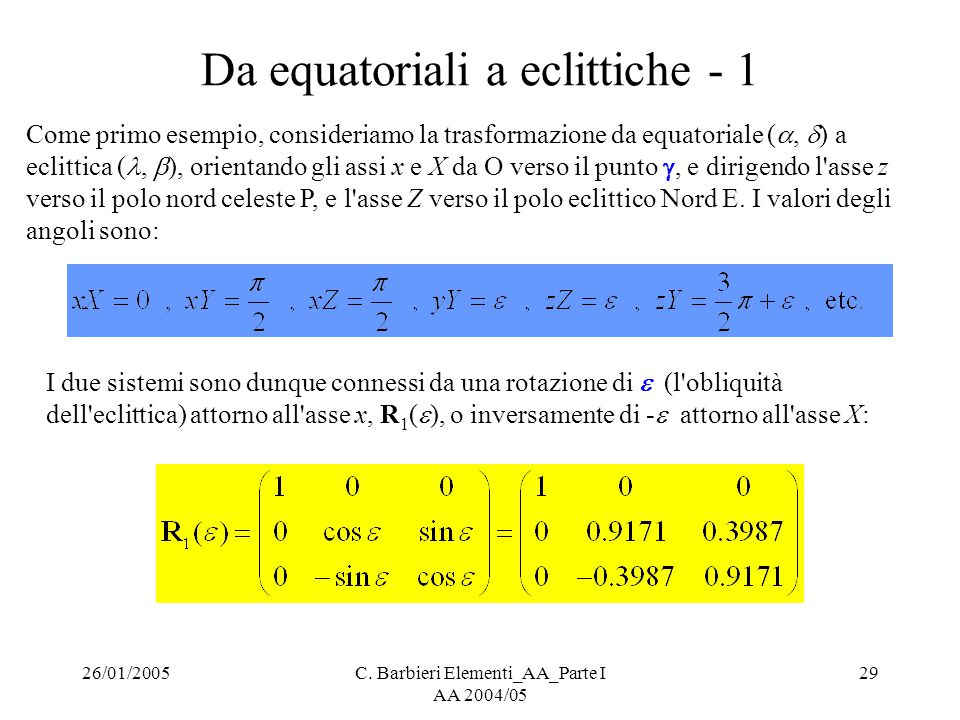 Da equatoriali a eclittiche - 1