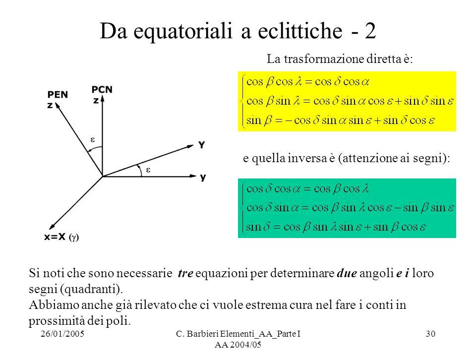 Da equatoriali a eclittiche - 2