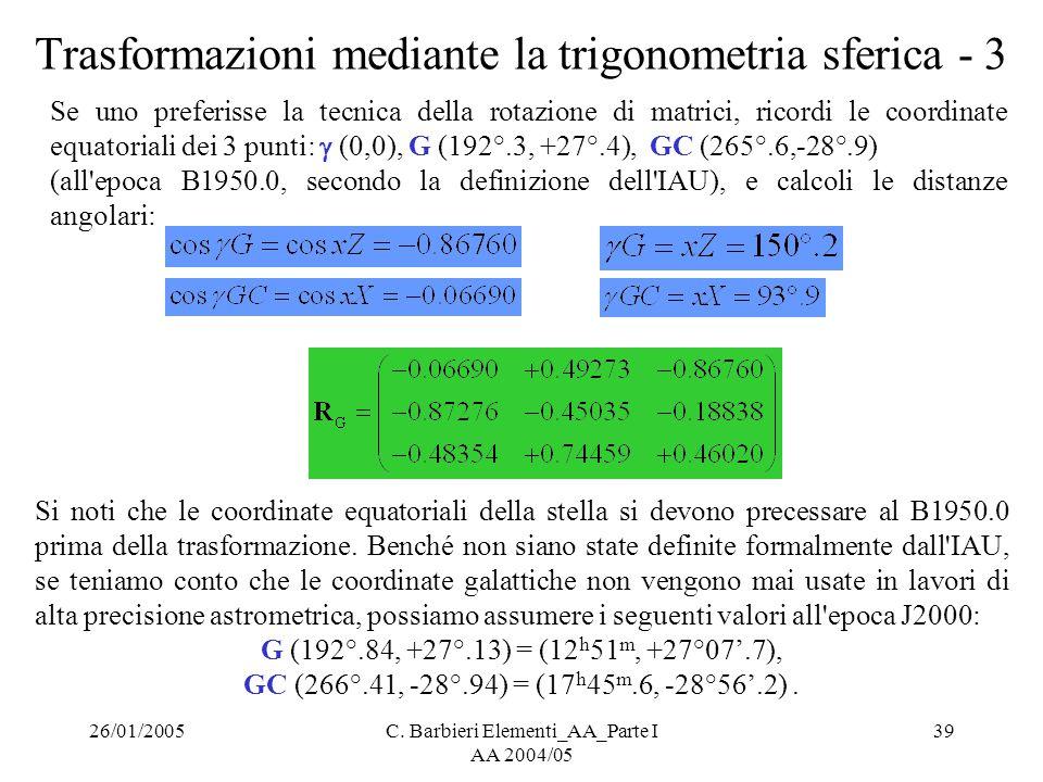 Trasformazioni mediante la trigonometria sferica - 3
