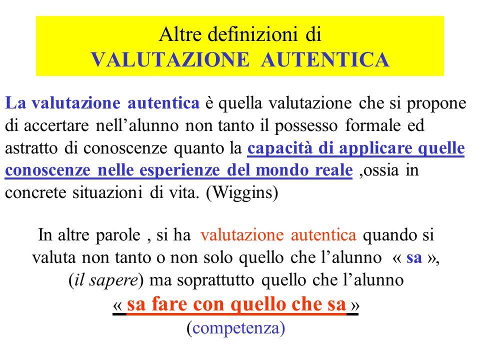 Altre definizioni di VALUTAZIONE AUTENTICA