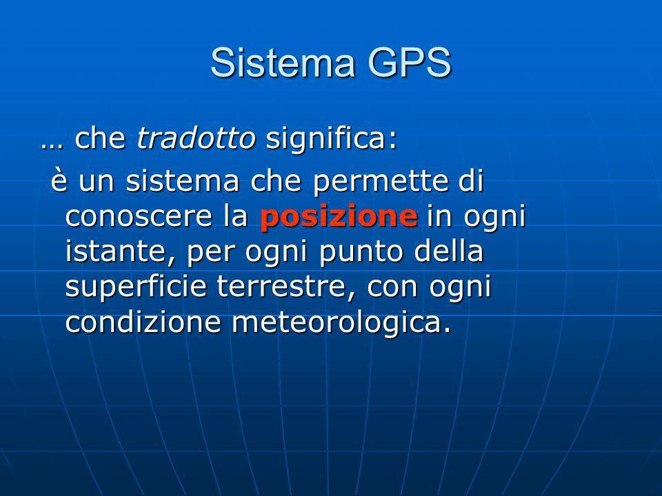 Sistema GPS … che tradotto significa:
