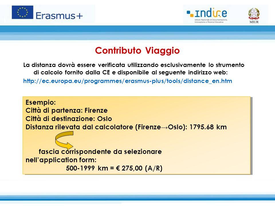 Contributo Viaggio Esempio: Città di partenza: Firenze