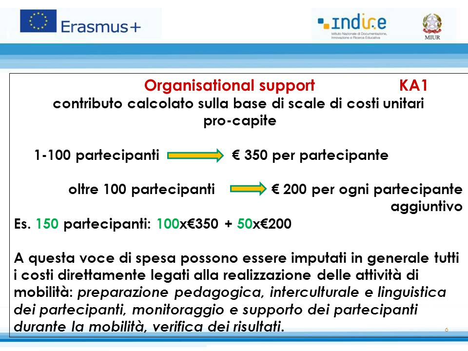 Organisational support KA1