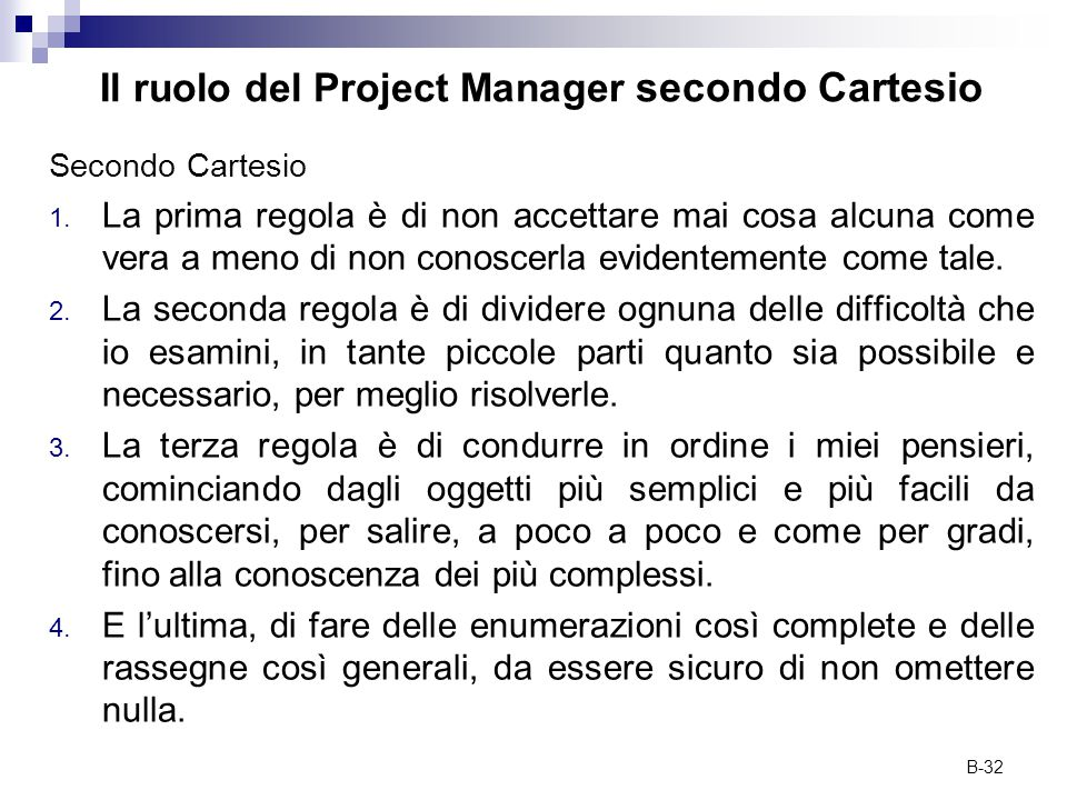 Il ruolo del Project Manager secondo Cartesio