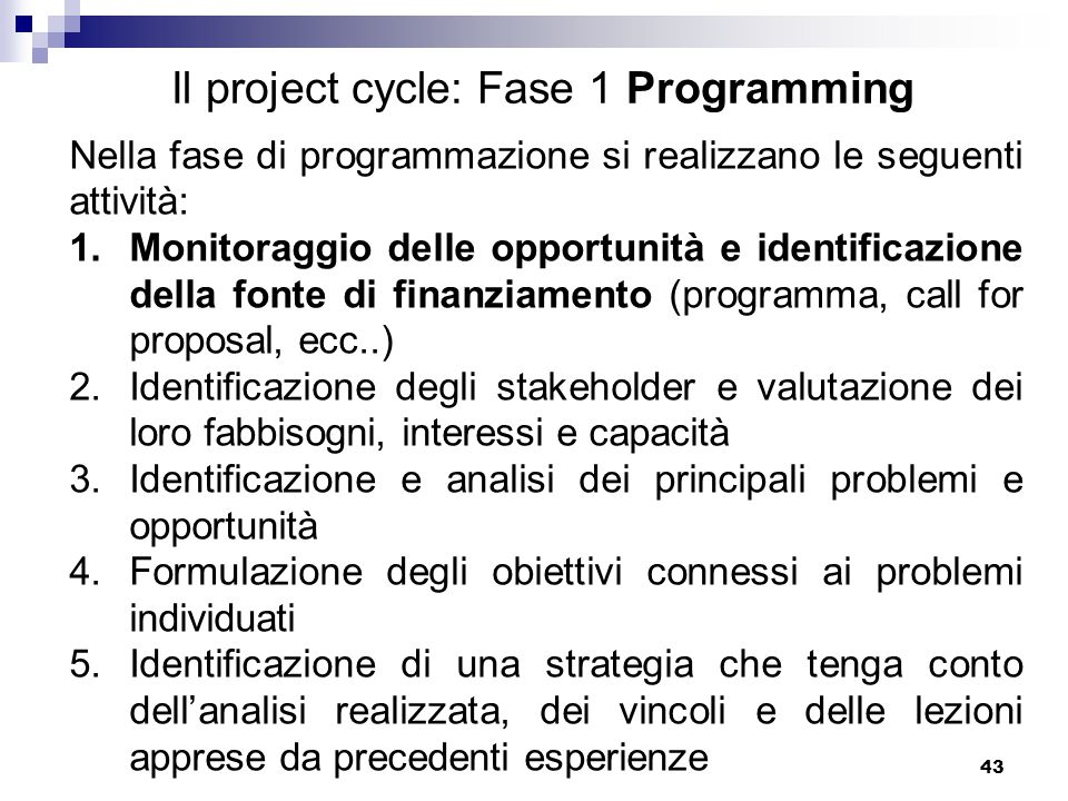 Il project cycle: Fase 1 Programming