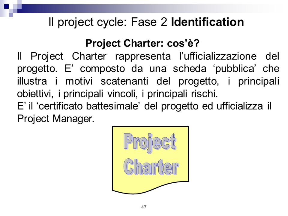 Project Charter: cos'è
