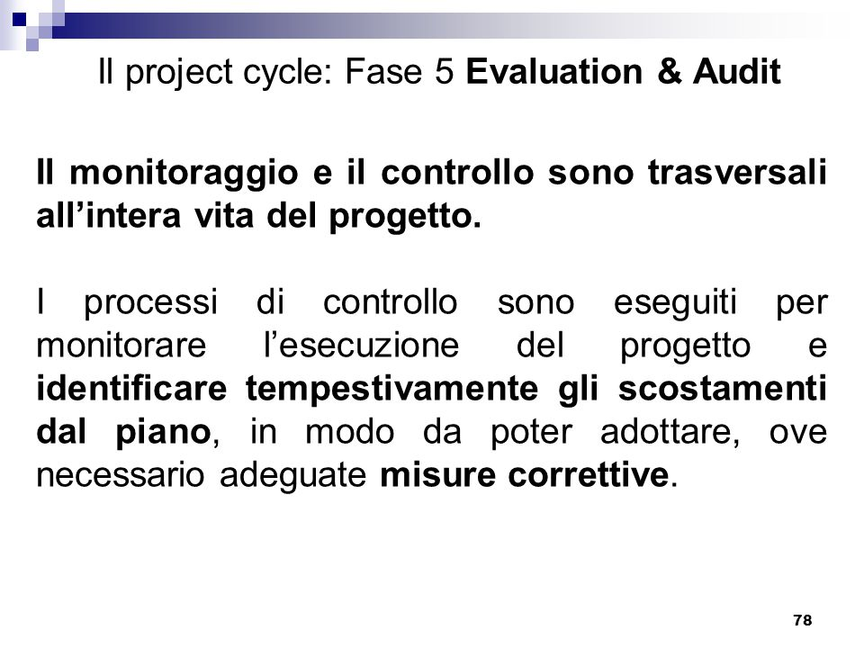 Il project cycle: Fase 5 Evaluation & Audit