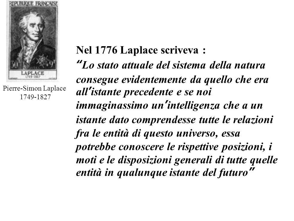 Nel 1776 Laplace scriveva :