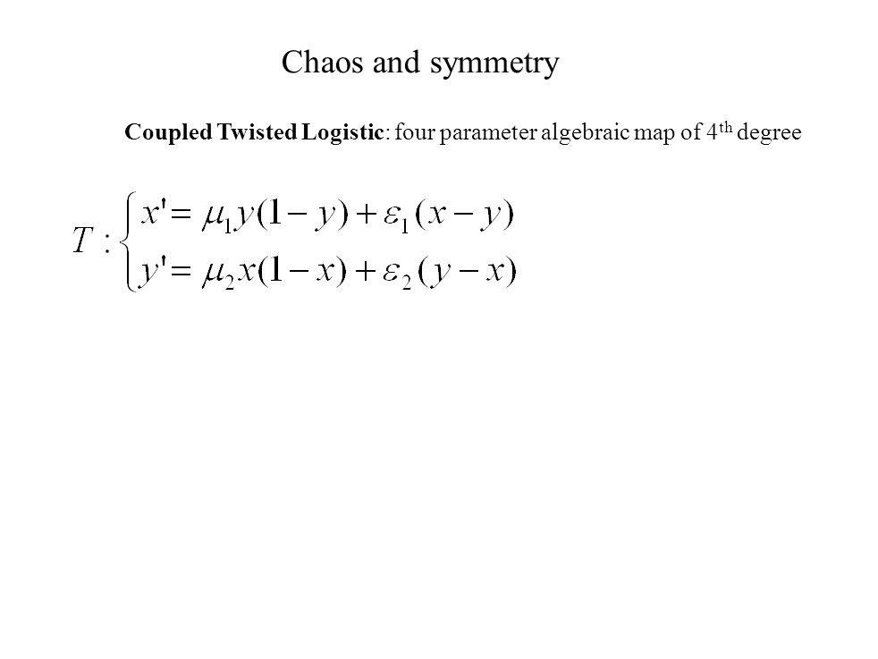Chaos and symmetry Coupled Twisted Logistic: four parameter algebraic map of 4th degree