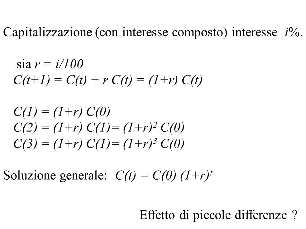 Capitalizzazione (con interesse composto) interesse i%.