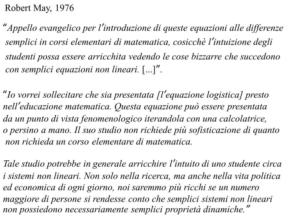 Robert May, 1976 Appello evangelico per l'introduzione di queste equazioni alle differenze.