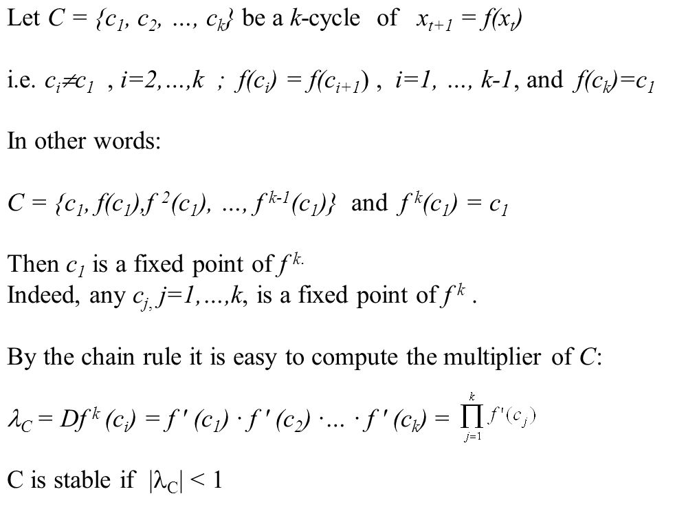 Let C = {c1, c2, …, ck} be a k-cycle of xt+1 = f(xt)
