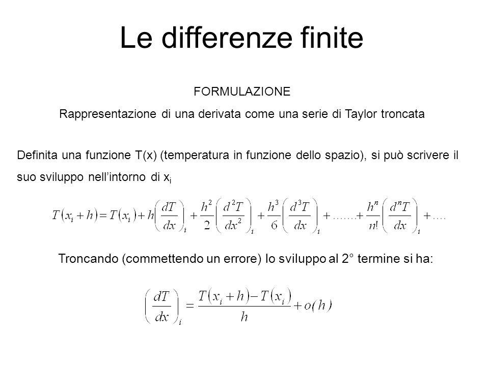 Le differenze finite FORMULAZIONE. Rappresentazione di una derivata come una serie di Taylor troncata.