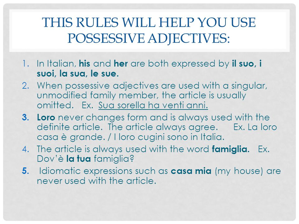 This rules will help you use possessive adjectives:
