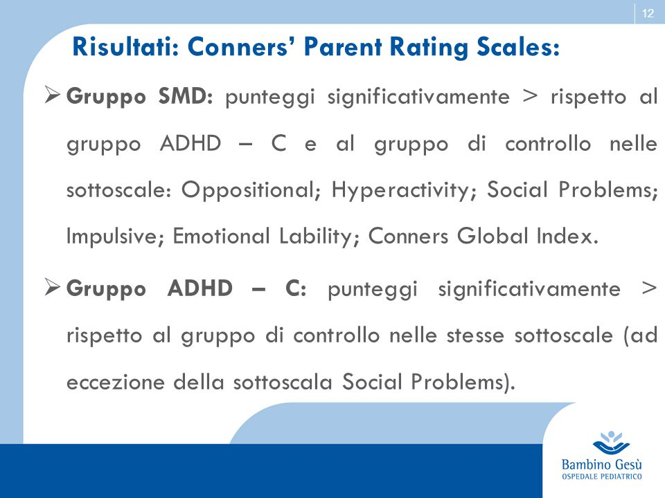 Risultati: Conners' Parent Rating Scales: