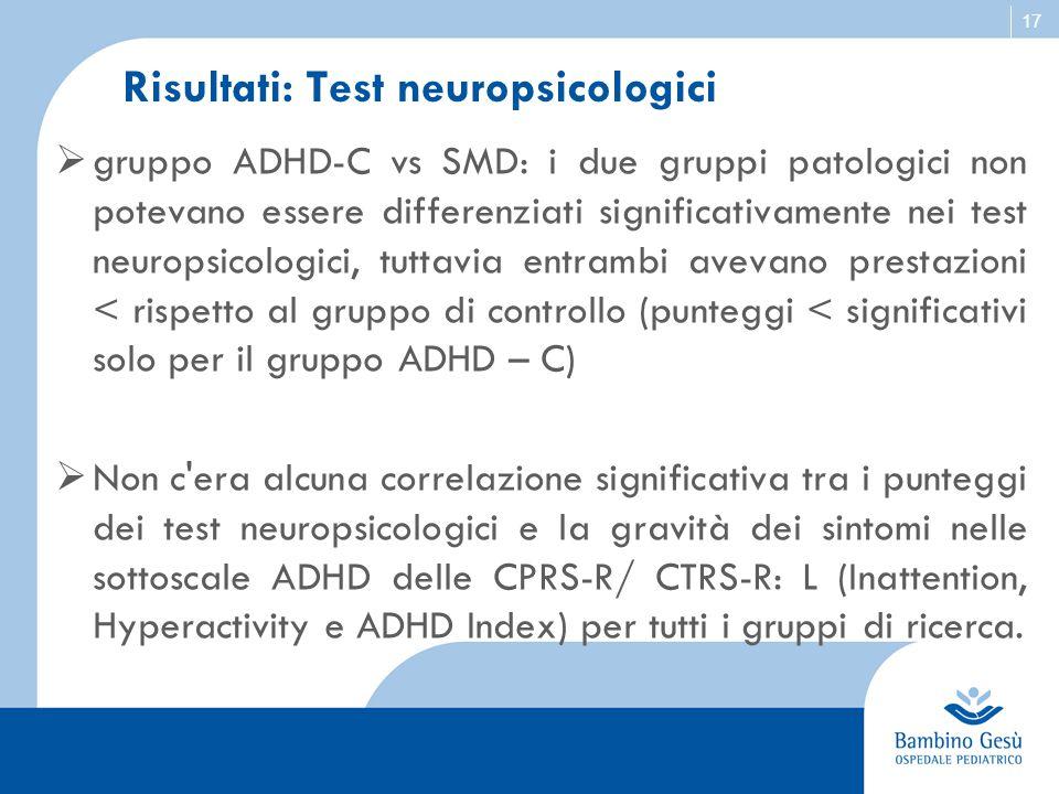 Risultati: Test neuropsicologici
