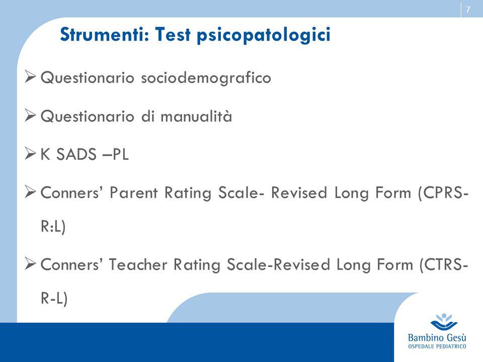 Strumenti: Test psicopatologici