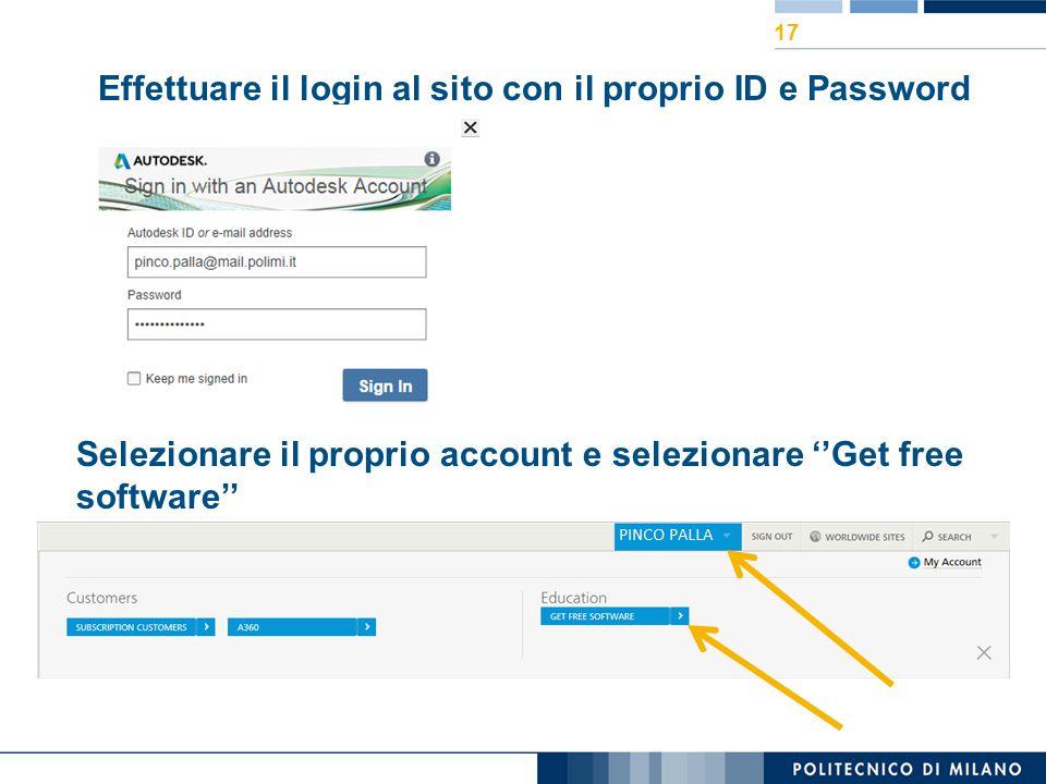 Effettuare il login al sito con il proprio ID e Password
