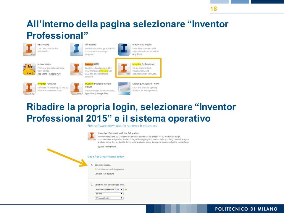 All'interno della pagina selezionare Inventor Professional