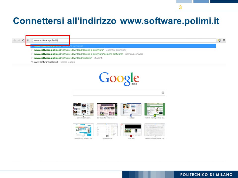 Connettersi all'indirizzo www.software.polimi.it